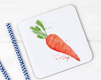 Carrot Garden Patch Collection Set of Four Coasters Kitchen Mother Father Fruit and Veg Coffee/Tea
