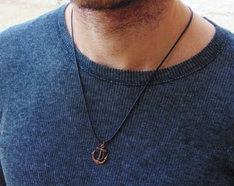 Mens Necklace*Mens Jewelry*Mens Gift*Necklace for Men*Man Necklace*Mens Pendant Necklace*Surfer Necklace*Boyfriend Gift*Anchor Necklace