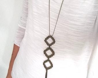 Fine geometric necklace long, crochet long necklace with tassel pendant, fine long tassel necklace boho