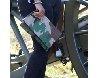 army foldover clutch, military clutch, fold over clutch