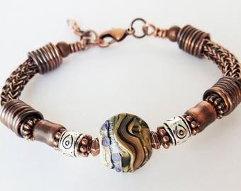 Handmade Copper Viking Knit Bracelet with Lentil Lampwork Bead