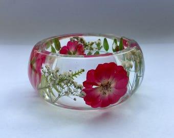 Miniature red rose bangle,red rose bracelet,rose bracelet