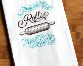 100% Ringspun Cotton Flour Sack Tea Towel - Set of 2 - They See Me Rollin' and WTFork