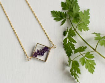 Crystal Amethyst Necklace | Amethyst necklaces for women, real amethyst, minimal crystal, jewelry gift, Wife amethyst gift
