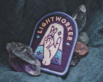"Lightworker Patch - Metaphysical Fashion Accessory - 3"" Iron On Embroidered Patch - For Starseeds, Healers, Lovers, and Inspirers"