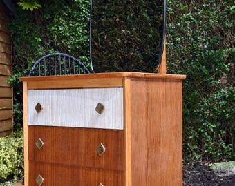 Funky Retro/Vintage/Midcentury 1950's Veneer & Formica Chest of Drawers/Dressing Table with Mirror