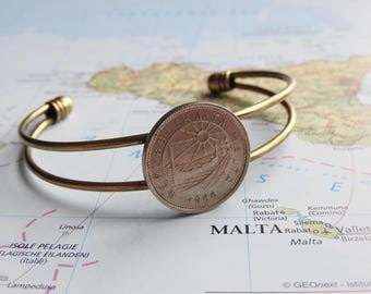 Malta coin cuff bracelet - 3 different designs - made of original coins - sun - fish - Island - travel gift