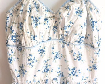 Vintage/Ditsy/Floral/Pale/Blue/White/Full/Circle/Ruched/Bust/Spaghetti/Strap/Cotton/Summer/Dress