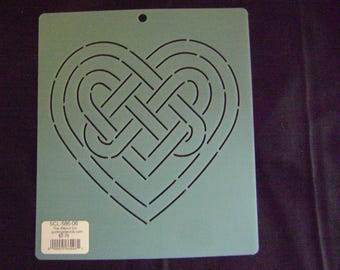 Sashiko Japanese Embroidery or Traditional Quilting Stencil 6 in. Celtic Heart Knot Motif Block/Quilting