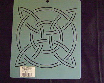 Sashiko Japanese Embroidery or Traditional Quilting Stencil 6 in. Celtic Pinwheel Motif Block/Quilting