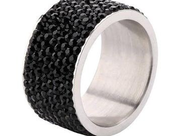 Black Crystal Wide Band Ring