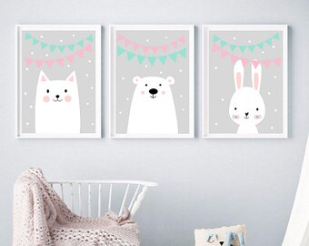 Set of Three Nursery Art Prints , Posters, Kids Wall Art, Digital Animals Art prints, kids room Gallery