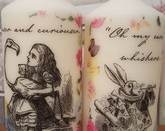 Alice In Wonderland Themed Decorative Candles Set Of 2 Unscented 50hrs Burn Time Each