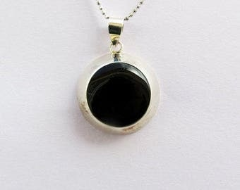 Black Stone Pendant, Onyx Pendant, Gift For Her, Sterling Silver Pendant, Everyday Pendant, Gemstone Pendant, Simple Pendant, Onyx Jewelry,