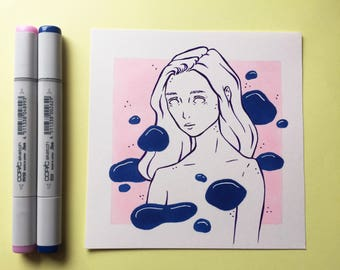 "Blue Lava Original Drawing - 6 x6"""