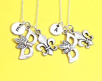 2  Best friend Necklaces, Mardi Gras Necklace, matching friendship necklaces, custom, personalized,initial,Best friend jewelry, bff for 2,