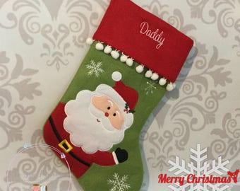 Personalised Christmas Stocking, Deluxe Plush Santa Any Name, Personalized Christmas Gift