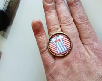 Navy stripes design cabochon ring