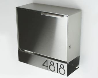 Modern mailbox - stainless steel design, Modern Mailbox medium, Wall Mounted mailbox, contemporary house - lock #SB1111s