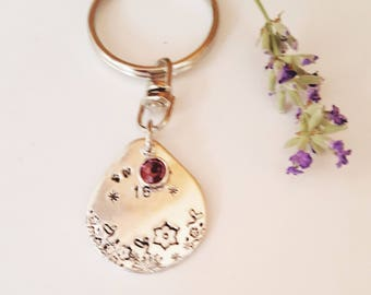 Sweet 16 Gift // Birthday Gift Sweet Sixteen //Swarovski and Pewter //  Keyring for the Girl turning 16 // Flower stamped//