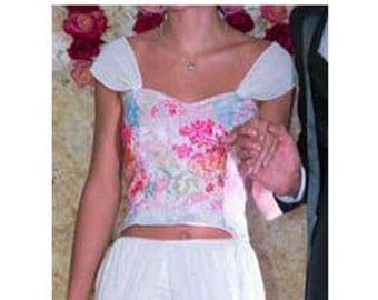 White strapless top and colorful floral lace