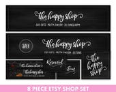 Etsy shop set - Etsy banner set - Chalkboard banner - Etsy cover image - Etsy logo - Etsy shop avatar - Fall Etsy banner - Holiday Etsy set