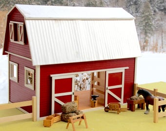 Hand-crafted Barn 1:12 Scale with Miniatures