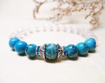 Amazonite Turquoise Clear Quartz Crystal Bracelet Gemstone Bracelet Throat Chakra Bracelet Mala Bracelet Healing Bracelet Spiritual Bracelet