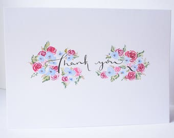Floral Thank you card / watercolour / handmade