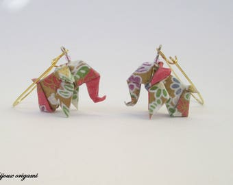 Elephant pink and gold origami jewelry origami Japanese paper earrings