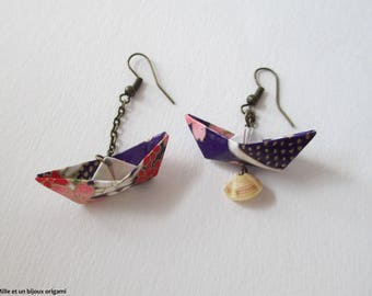 Boat origami and earrings seashell jewelry Japanese paper, origami jewelry