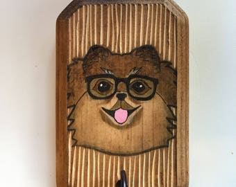 Reserved--Hand Painted Pomeranian - Rustic Leash Holder / Key Hanger. A fun and functional gift for dog lovers!