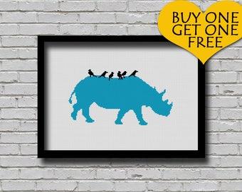 Cross Stitch Pattern Rhinoceros Animal Silhouette Printable Digital Pattern Wall Art Rhino and Birds Printable Monochrome Safari Animal