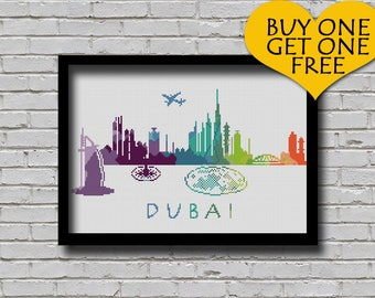 Cross Stitch Pattern Dubai Uae City Silhouette Rainbow Watercolor Painting Effect Modern Decor Embroidery City Skyline Xstitch