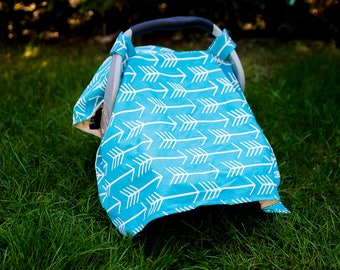 Turquoise Arrow Car Seat Canopy Cover , Girl Car Seat Canopy, Boy Car Seat Canopy,  Baby Shower Gift, New Mom Gift