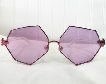 Purple Heptagon Hands Sunglasses