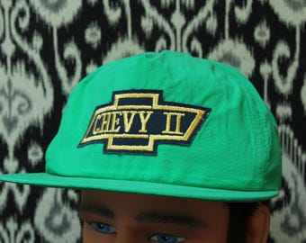 Vintage 1980s Green Chevy II Nova Snapback Hat // Embroidered Patch //  Chevrolet // New Old Stock //