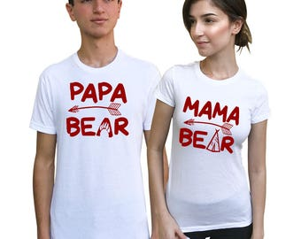 Papa Bear Mama Bear Couple shirts,  Matching Tees for Couples, Anniversary, wedding matching sets