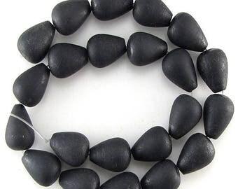 "18mm matte black stone teardrop beads 16"" strand L/D 15226"