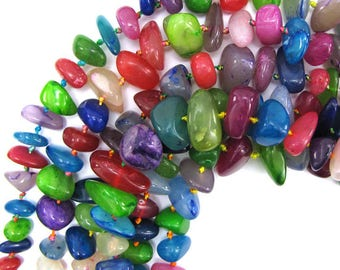 """12-22mm multicolor jade nugget beads 18"""" strand stand 12936"""