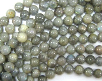 "10mm grey labradorite round beads 15.5"" strand S2 33941"
