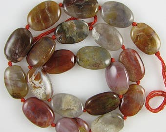 "16mm brown agate flat oval beads 15.5"" strand S1 2378"