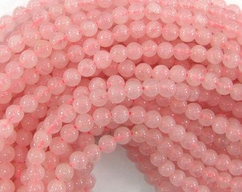 "6mm rose quartz round beads 15"" strand 33531"