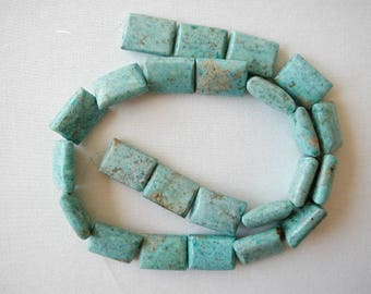 "16mm chrysocolla rectangle beads 16"" strand 13001"