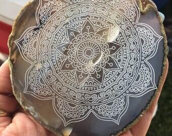Laser engraved mandala on Brazillian agate for sacred space altar ceremony ritual magical decor