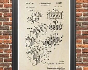 Lego Poster, Lego Brick Patent, Lego Print, Lego Art, Boy's Room Art, Lego Toy, Lego Decor, Lego Gift, Lego Bricks, Lego Blocks P13
