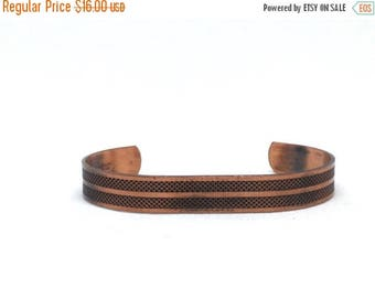 Stunning Solid Textured Cooper Vintage Estate Cuff Bracelet