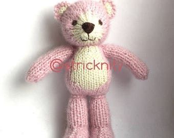 Knitted teddy bear for baby and newborn photography props