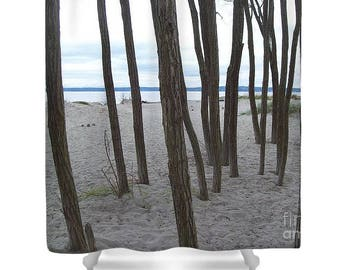 "Shower Curtain ""Lonely Trees by the Sea"""