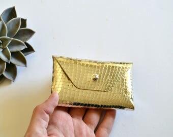 Gold leather card holder / Gold envelope card holder / Gold leather business card case / Genuine leather